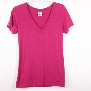 VS PINK Women's Short Sleeve V Neck Shirt